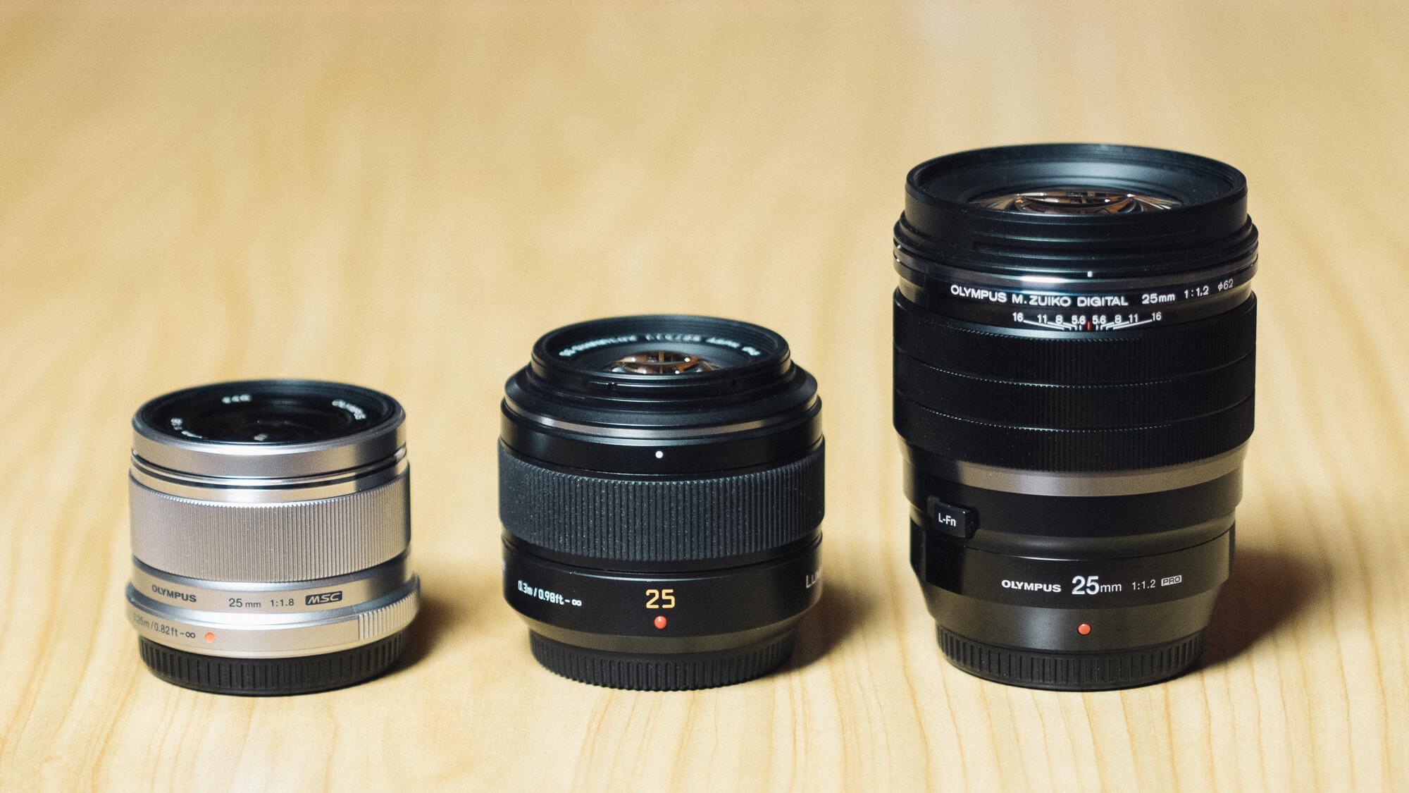 Olympus M.Zuiko 25mm F1.8 – Panasonic Leica Summilux 25mm F1.4 – Olympus M.Zuiko 25mm F1.2 Pro